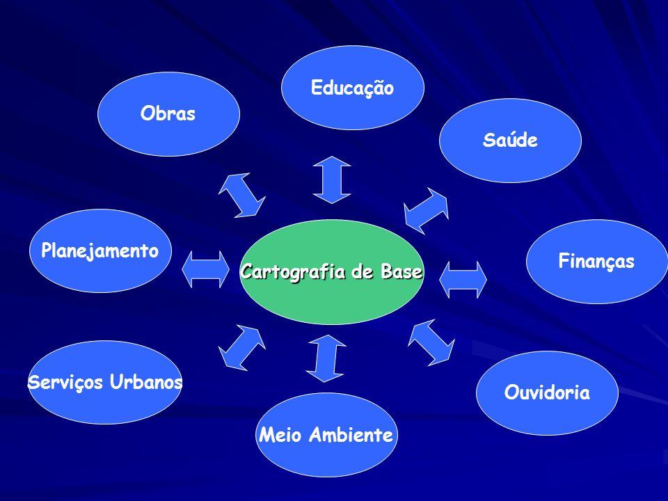 Cartografia de Base Educação Finanças Obras Planejamento Serviços Urbanos Meio Ambiente Ouvidoria Saúde