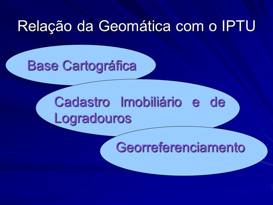 Relação da Geomática com o IPTU Base Cartográfica Base Cartográfica Cadastro Imobiliário e de Logradouros Cadastro Imobiliário e de Logradouros Georre