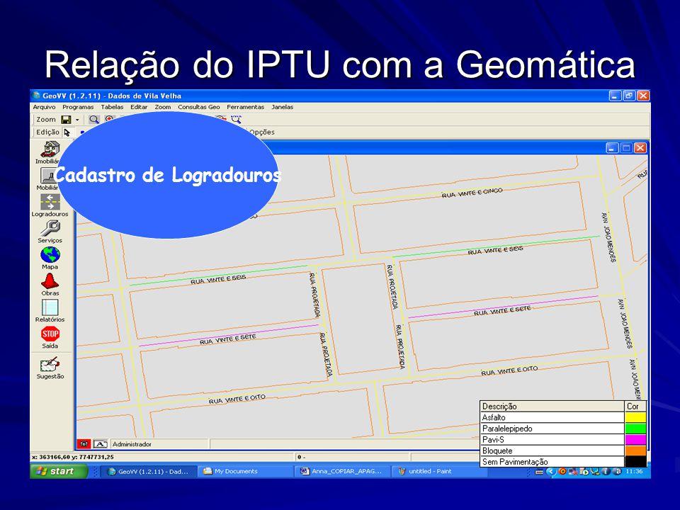 Relação do IPTU com a Geomática Cadastro de Logradouros