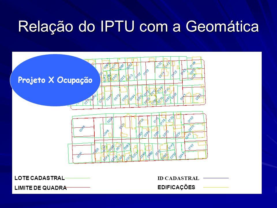 Relação do IPTU com a Geomática LOTE CADASTRAL LIMITE DE QUADRA EDIFICAÇÕES ID CADASTRAL Projeto X Ocupação