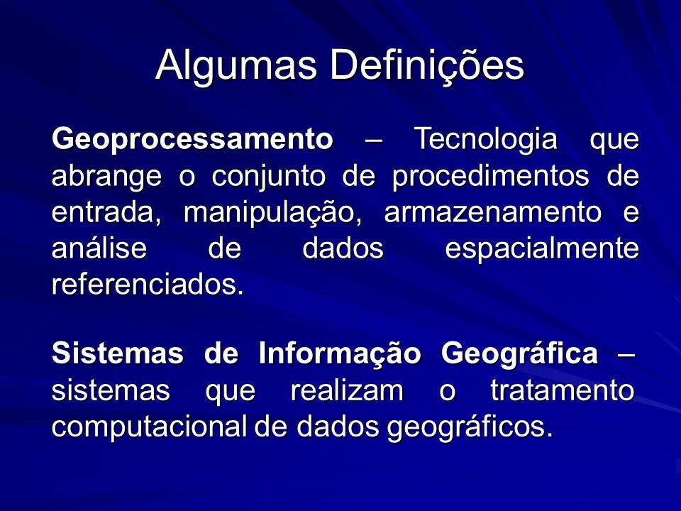 Algumas Definições Geoprocessamento – Tecnologia que abrange o conjunto de procedimentos de entrada, manipulação, armazenamento e análise de dados esp