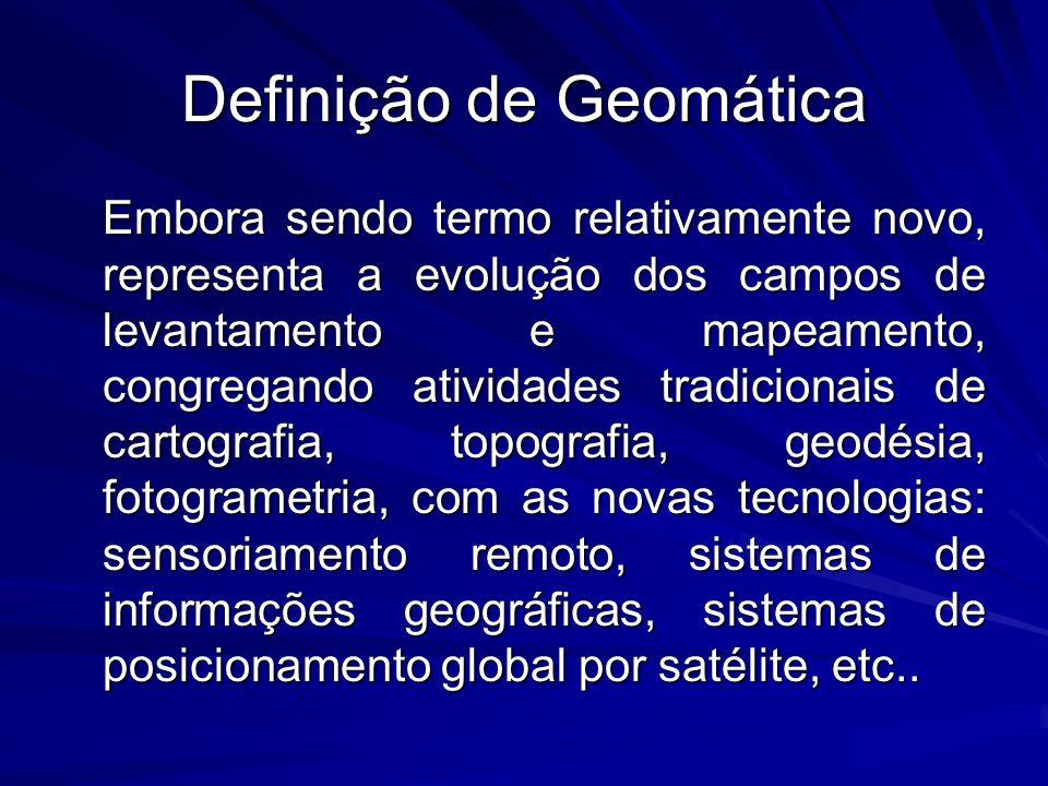 Definição de Geomática Embora sendo termo relativamente novo, representa a evolução dos campos de levantamento e mapeamento, congregando atividades tr