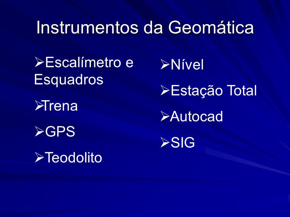 Instrumentos da Geomática Escalímetro e Esquadros Trena GPS Teodolito Nível Estação Total Autocad SIG