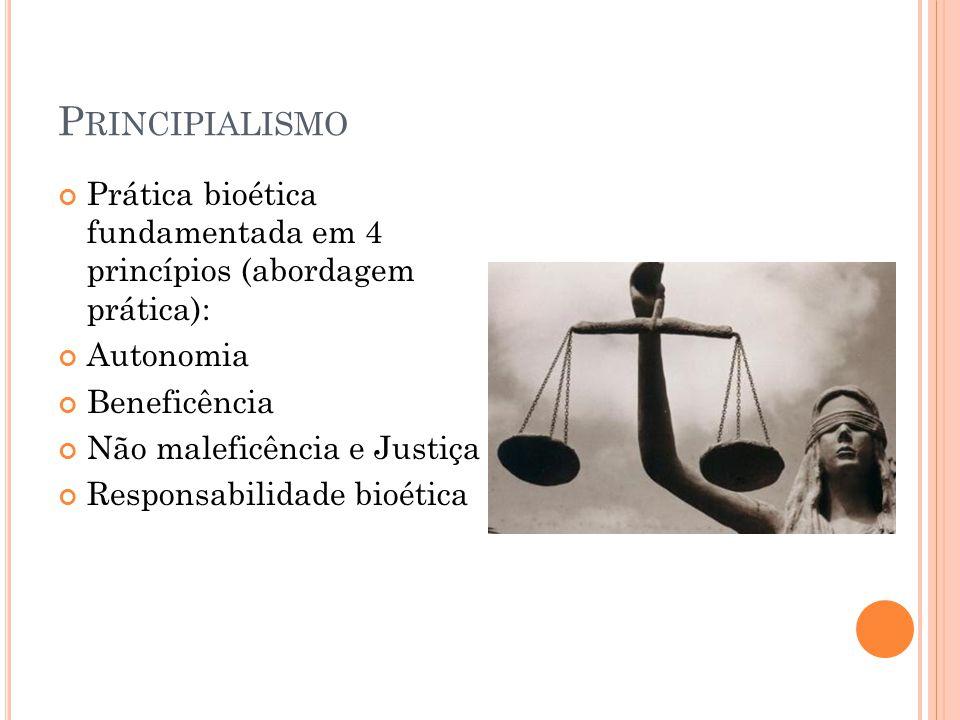 P RINCIPIALISMO Prática bioética fundamentada em 4 princípios (abordagem prática): Autonomia Beneficência Não maleficência e Justiça Responsabilidade