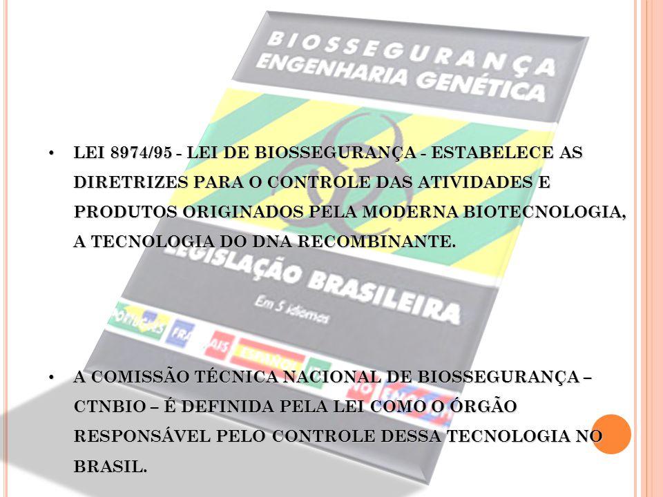 LEI 8974/95 - LEI DE BIOSSEGURANÇA - ESTABELECE AS DIRETRIZES PARA O CONTROLE DAS ATIVIDADES E PRODUTOS ORIGINADOS PELA MODERNA BIOTECNOLOGIA, A TECNO