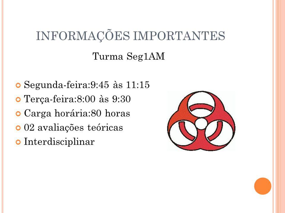 INFORMAÇÕES IMPORTANTES Turma Seg1AM Segunda-feira:9:45 às 11:15 Terça-feira:8:00 às 9:30 Carga horária:80 horas 02 avaliações teóricas Interdisciplin