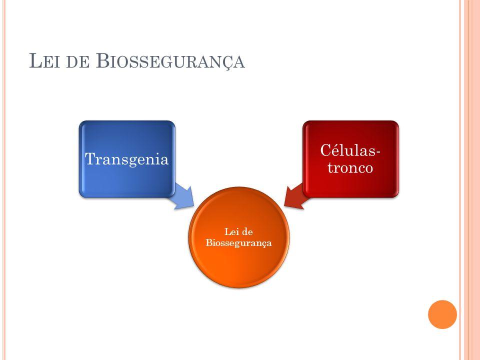 L EI DE B IOSSEGURANÇA Lei de Biossegurança Transgenia Células- tronco