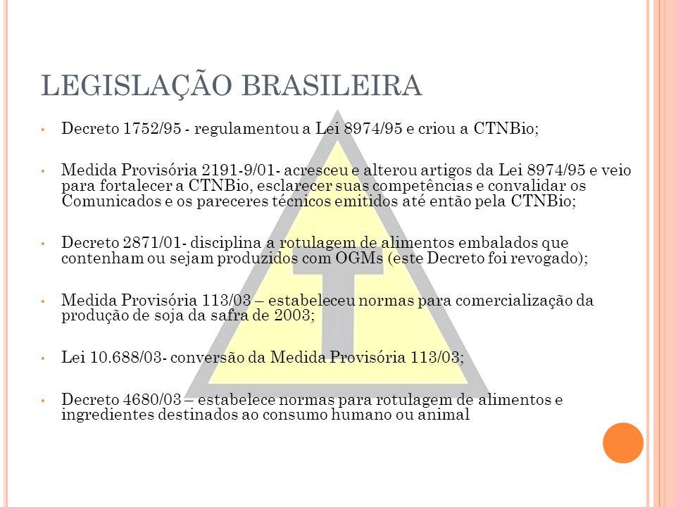 LEGISLAÇÃO BRASILEIRA Decreto 1752/95 - regulamentou a Lei 8974/95 e criou a CTNBio; Medida Provisória 2191-9/01- acresceu e alterou artigos da Lei 89