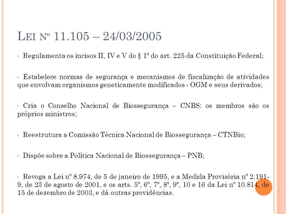 L EI Nº 11.105 – 24/03/2005 Regulamenta os incisos II, IV e V do § 1º do art. 225 da Constituição Federal; Estabelece normas de segurança e mecanismos