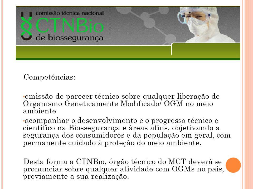 Competências: emissão de parecer técnico sobre qualquer liberação de Organismo Geneticamente Modificado/ OGM no meio ambiente acompanhar o desenvolvim