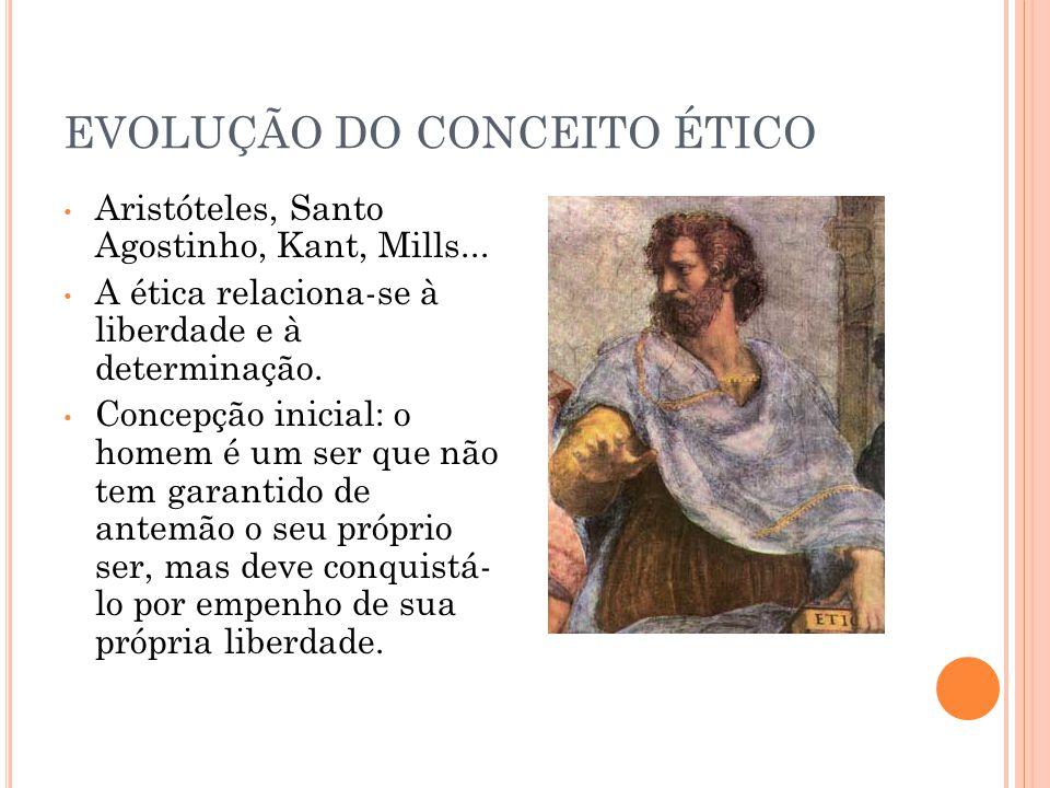 EVOLUÇÃO DO CONCEITO ÉTICO Aristóteles, Santo Agostinho, Kant, Mills... A ética relaciona-se à liberdade e à determinação. Concepção inicial: o homem