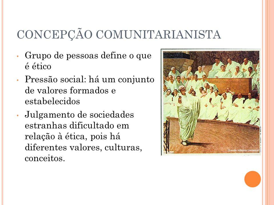 CONCEPÇÃO COMUNITARIANISTA Grupo de pessoas define o que é ético Pressão social: há um conjunto de valores formados e estabelecidos Julgamento de soci