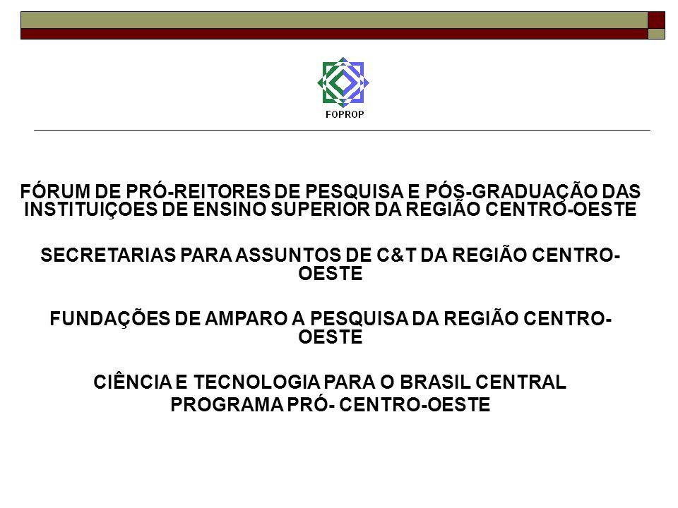 FÓRUM DE PRÓ-REITORES DE PESQUISA E PÓS-GRADUAÇÃO DAS INSTITUIÇOES DE ENSINO SUPERIOR DA REGIÃO CENTRO-OESTE SECRETARIAS PARA ASSUNTOS DE C&T DA REGIÃO CENTRO- OESTE FUNDAÇÕES DE AMPARO A PESQUISA DA REGIÃO CENTRO- OESTE CIÊNCIA E TECNOLOGIA PARA O BRASIL CENTRAL PROGRAMA PRÓ- CENTRO-OESTE