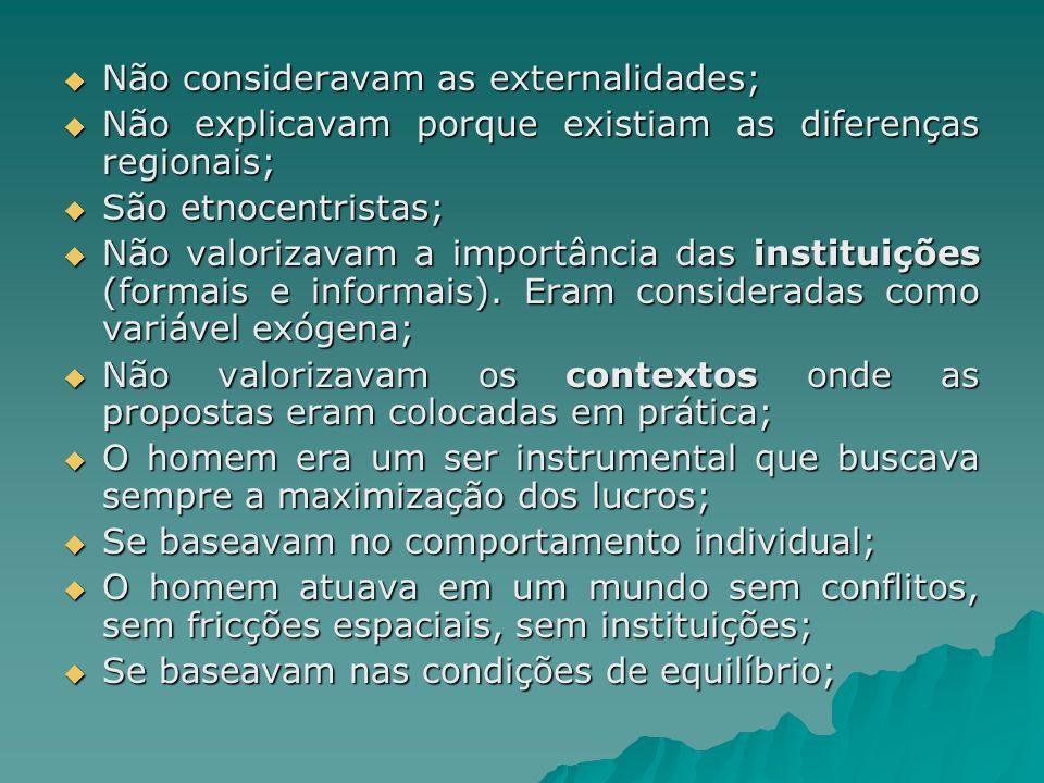 Não consideravam as externalidades; Não consideravam as externalidades; Não explicavam porque existiam as diferenças regionais; Não explicavam porque
