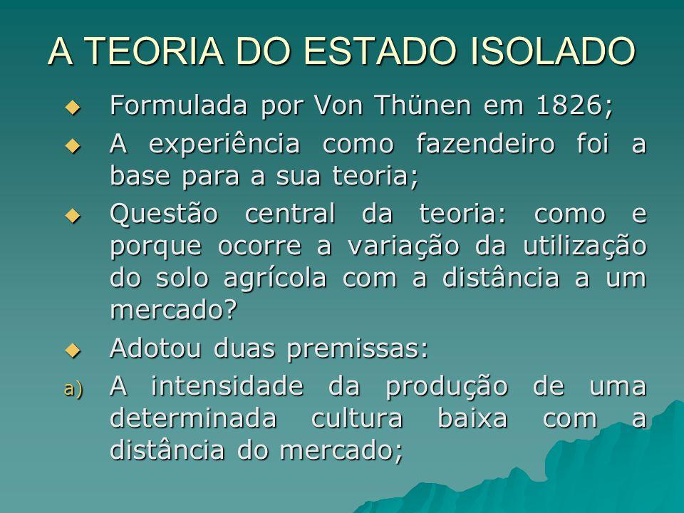 A TEORIA DO ESTADO ISOLADO Formulada por Von Thünen em 1826; Formulada por Von Thünen em 1826; A experiência como fazendeiro foi a base para a sua teoria; A experiência como fazendeiro foi a base para a sua teoria; Questão central da teoria: como e porque ocorre a variação da utilização do solo agrícola com a distância a um mercado.