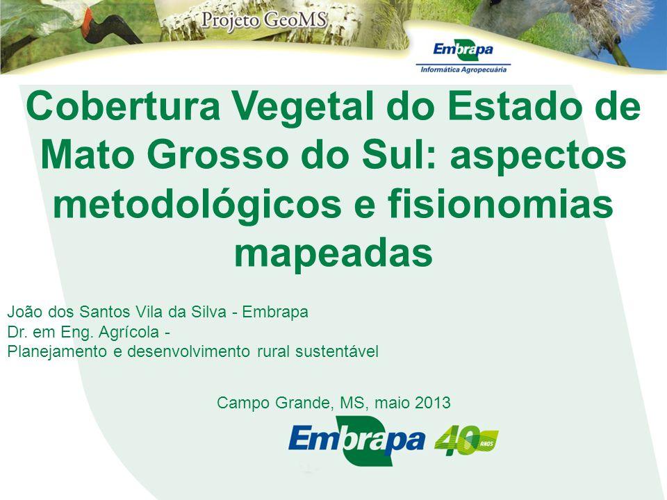 Cobertura Vegetal do Estado de Mato Grosso do Sul: aspectos metodológicos e fisionomias mapeadas João dos Santos Vila da Silva - Embrapa Dr. em Eng. A