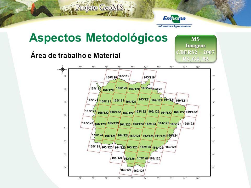 Aspectos Metodológicos Área de trabalho e Material MSImagens CBERS2 – 2007 R3, G4, B2 MSImagens CBERS2 – 2007 R3, G4, B2