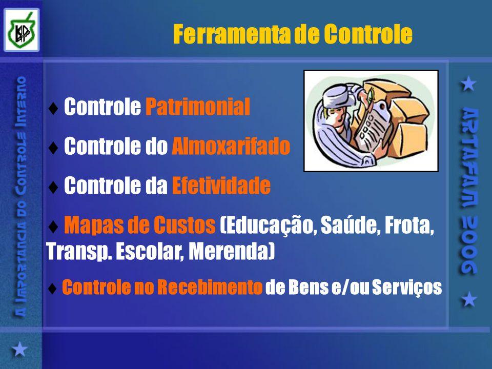 Ferramenta de Controle Controle Patrimonial Controle do Almoxarifado Controle da Efetividade Mapas de Custos (Educação, Saúde, Frota, Transp.