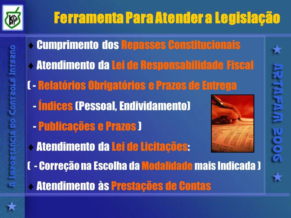 Ferramenta Para Atender a Legislação Cumprimento dos Repasses Constitucionais Atendimento da Lei de Responsabilidade Fiscal ( - Relatórios Obrigatórios e Prazos de Entrega - Índices (Pessoal, Endividamento) - Publicações e Prazos ) Atendimento da Lei de Licitações: ( - Correção na Escolha da Modalidade mais Indicada ) Atendimento às Prestações de Contas