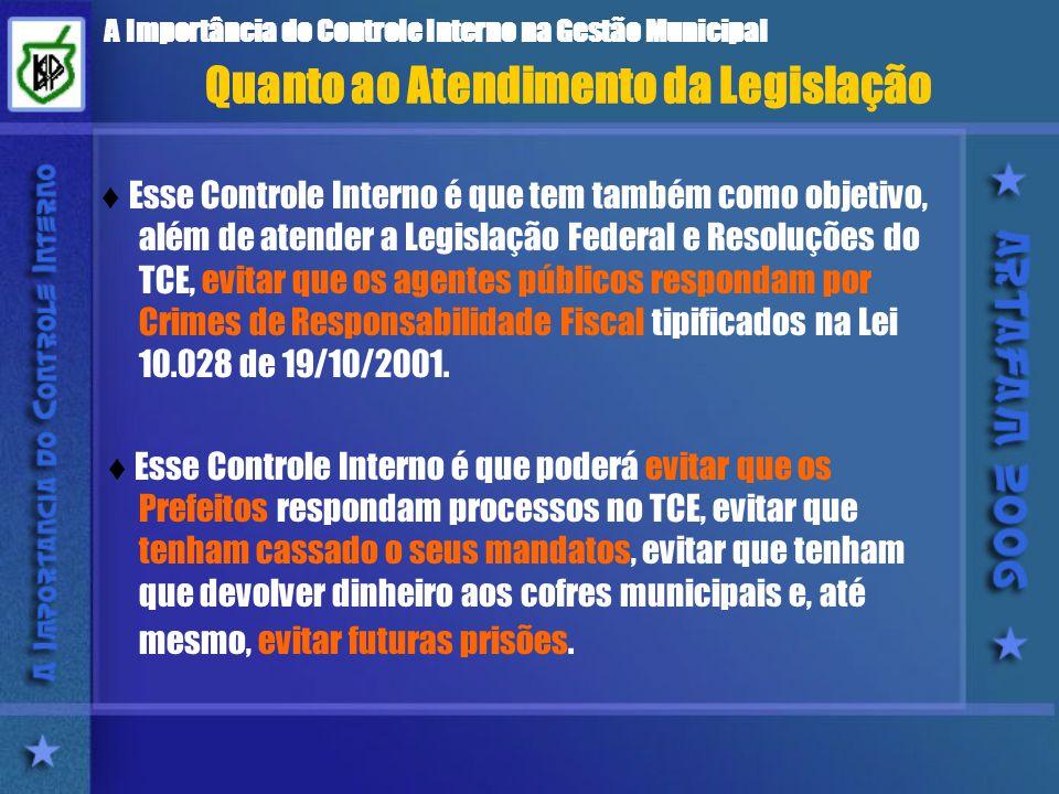 A Importância do Controle Interno na Gestão Municipal Esse Controle Interno é que tem também como objetivo, além de atender a Legislação Federal e Resoluções do TCE, evitar que os agentes públicos respondam por Crimes de Responsabilidade Fiscal tipificados na Lei 10.028 de 19/10/2001.