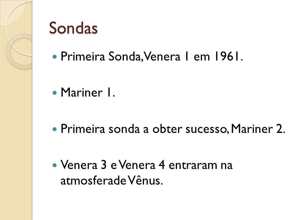 Sondas Primeira Sonda, Venera 1 em 1961. Mariner 1. Primeira sonda a obter sucesso, Mariner 2. Venera 3 e Venera 4 entraram na atmosferade Vênus.