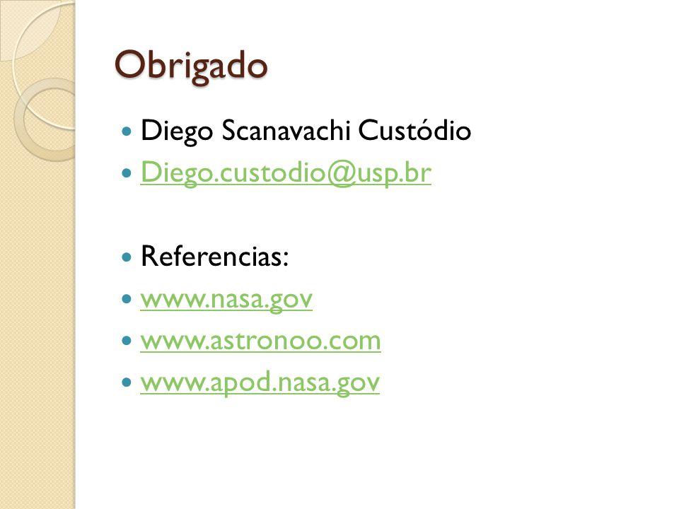 Obrigado Diego Scanavachi Custódio Diego.custodio@usp.br Referencias: www.nasa.gov www.astronoo.com www.apod.nasa.gov