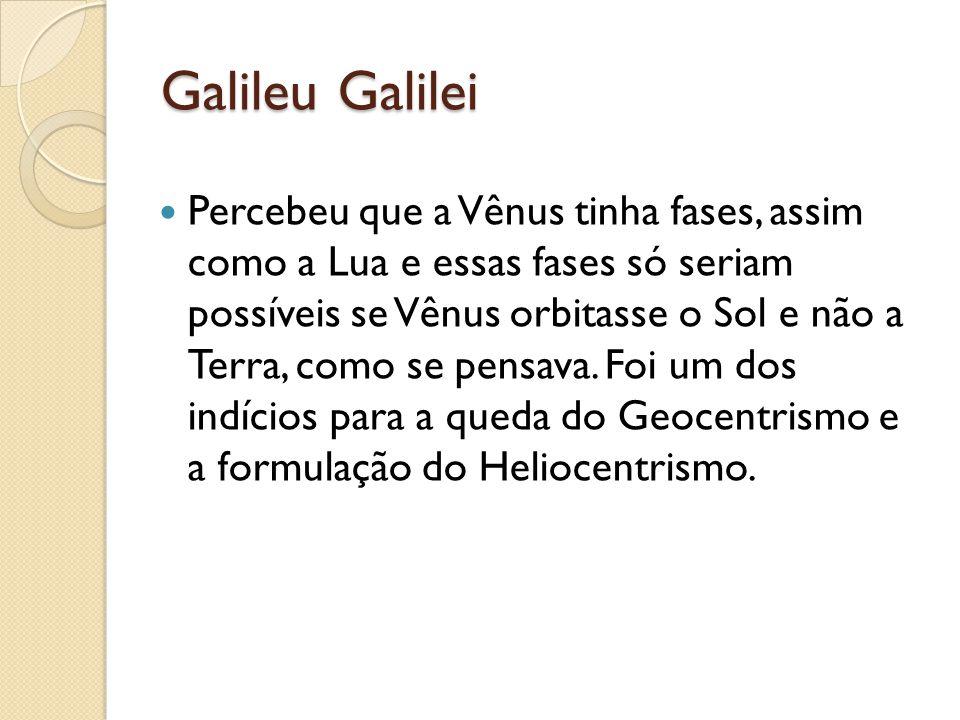 Galileu Galilei Percebeu que a Vênus tinha fases, assim como a Lua e essas fases só seriam possíveis se Vênus orbitasse o Sol e não a Terra, como se p