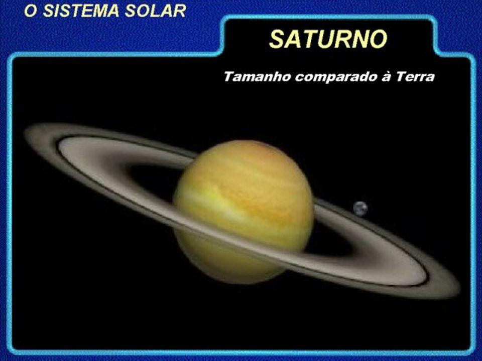 SATURNO 6.º planeta do sistema solar Composição Rotação (dia) – 10h22 Translação (ano) - 29,5 anos Hélio Tamanho - 120.530km (2.º maior) Hidrogénio Te