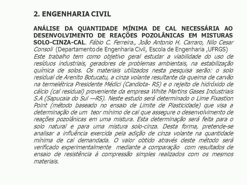 2. ENGENHARIA CIVIL ANÁLISE DA QUANTIDADE MÍNIMA DE CAL NECESSÁRIA AO DESENVOLVIMENTO DE REAÇÕES POZOLÂNICAS EM MISTURAS SOLO-CINZA-CAL. Fábio C. Ferr