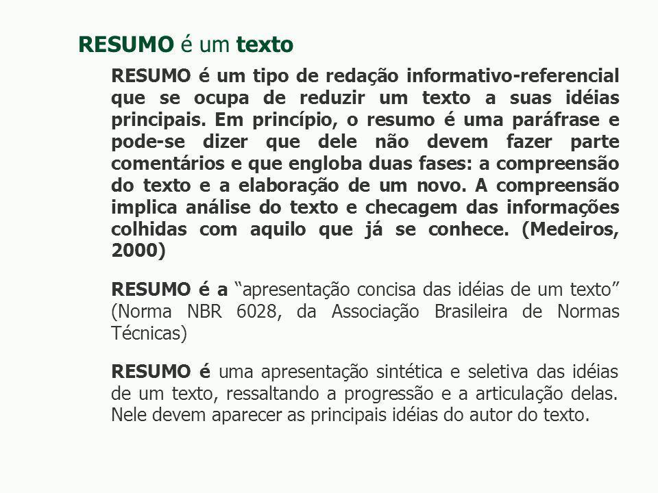 RESUMO é um texto RESUMO é um tipo de redação informativo-referencial que se ocupa de reduzir um texto a suas idéias principais.