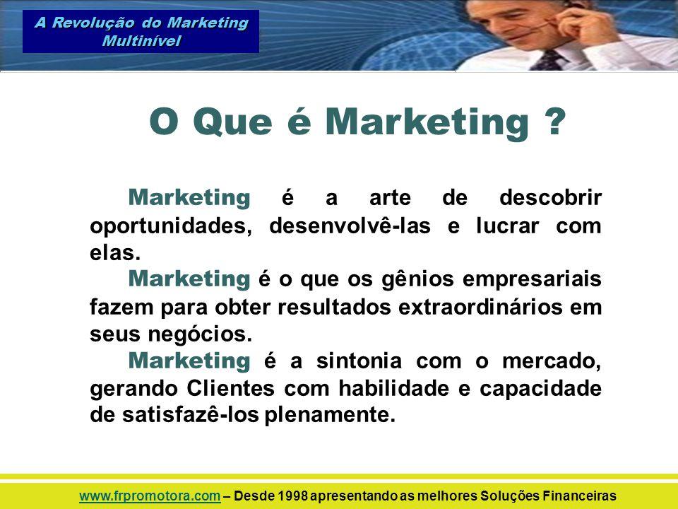 Marketing é a arte de descobrir oportunidades, desenvolvê-las e lucrar com elas. Marketing é o que os gênios empresariais fazem para obter resultados