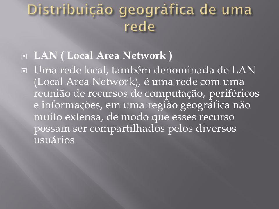 LAN ( Local Area Network ) Uma rede local, também denominada de LAN (Local Area Network), é uma rede com uma reunião de recursos de computação, periféricos e informações, em uma região geográfica não muito extensa, de modo que esses recurso possam ser compartilhados pelos diversos usuários.