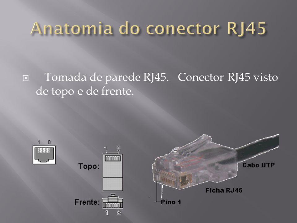 Tomada de parede RJ45. Conector RJ45 visto de topo e de frente.