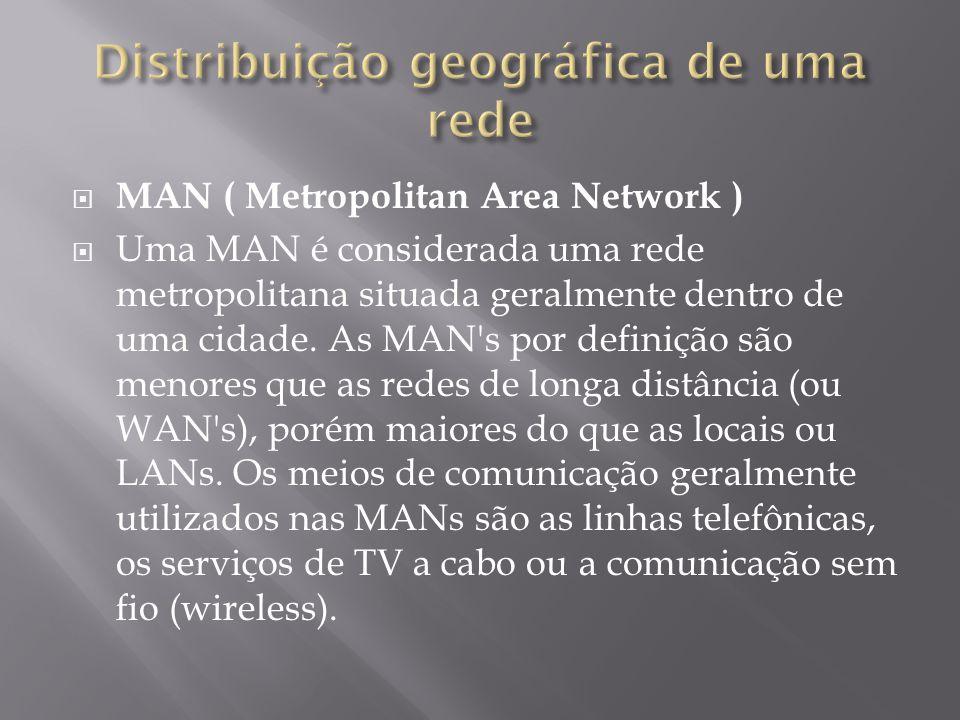 MAN ( Metropolitan Area Network ) Uma MAN é considerada uma rede metropolitana situada geralmente dentro de uma cidade. As MAN's por definição são men