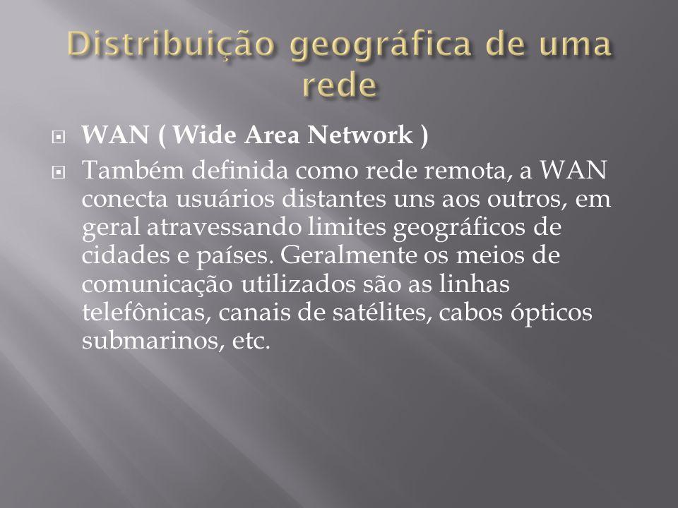 WAN ( Wide Area Network ) Também definida como rede remota, a WAN conecta usuários distantes uns aos outros, em geral atravessando limites geográficos