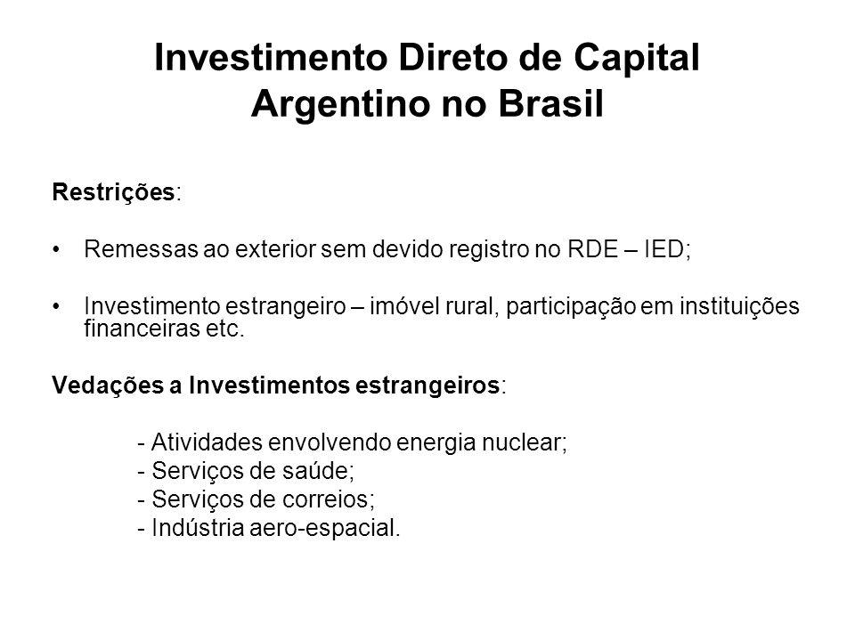 Investimento Direto de Capital Argentino no Brasil Restrições: Remessas ao exterior sem devido registro no RDE – IED; Investimento estrangeiro – imóve
