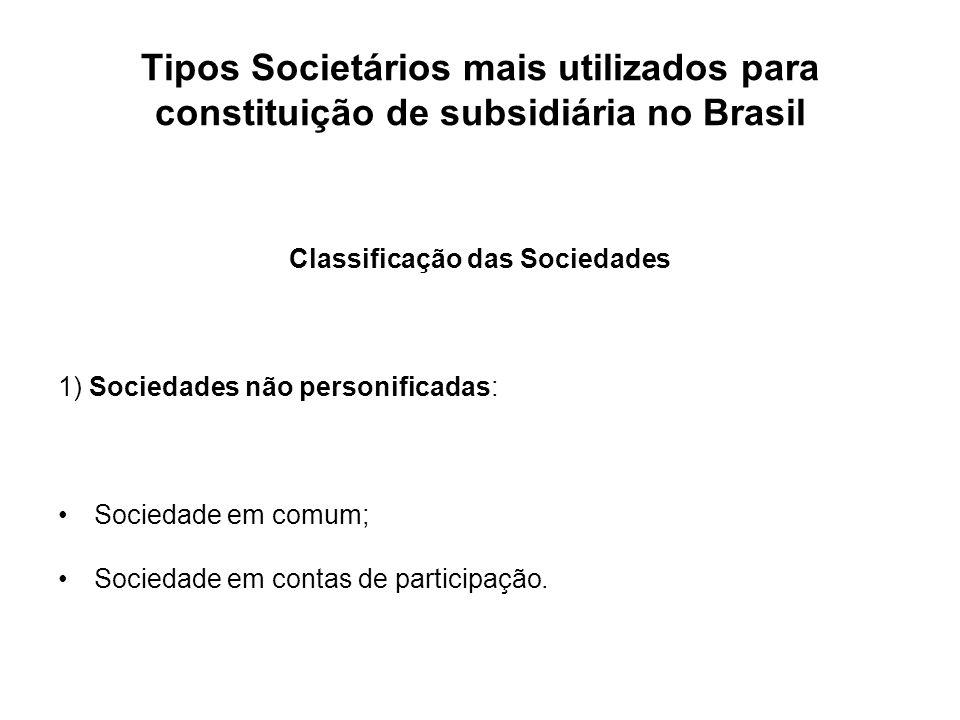Tipos Societários mais utilizados para constituição de subsidiária no Brasil Classificação das Sociedades 1) Sociedades não personificadas: Sociedade