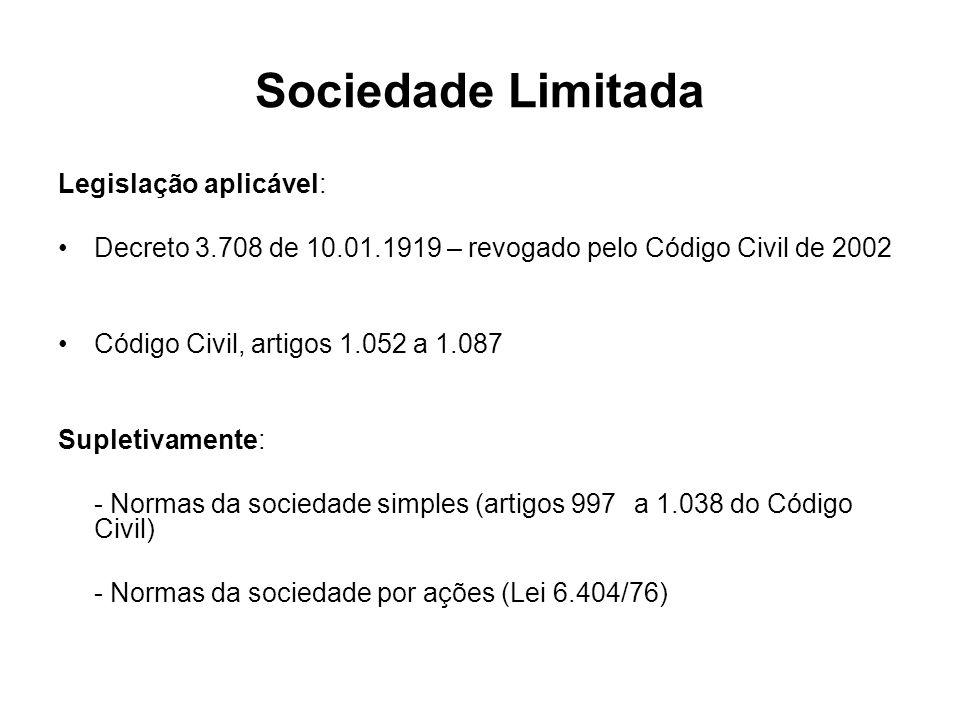 Sociedade Limitada Legislação aplicável: Decreto 3.708 de 10.01.1919 – revogado pelo Código Civil de 2002 Código Civil, artigos 1.052 a 1.087 Supletiv