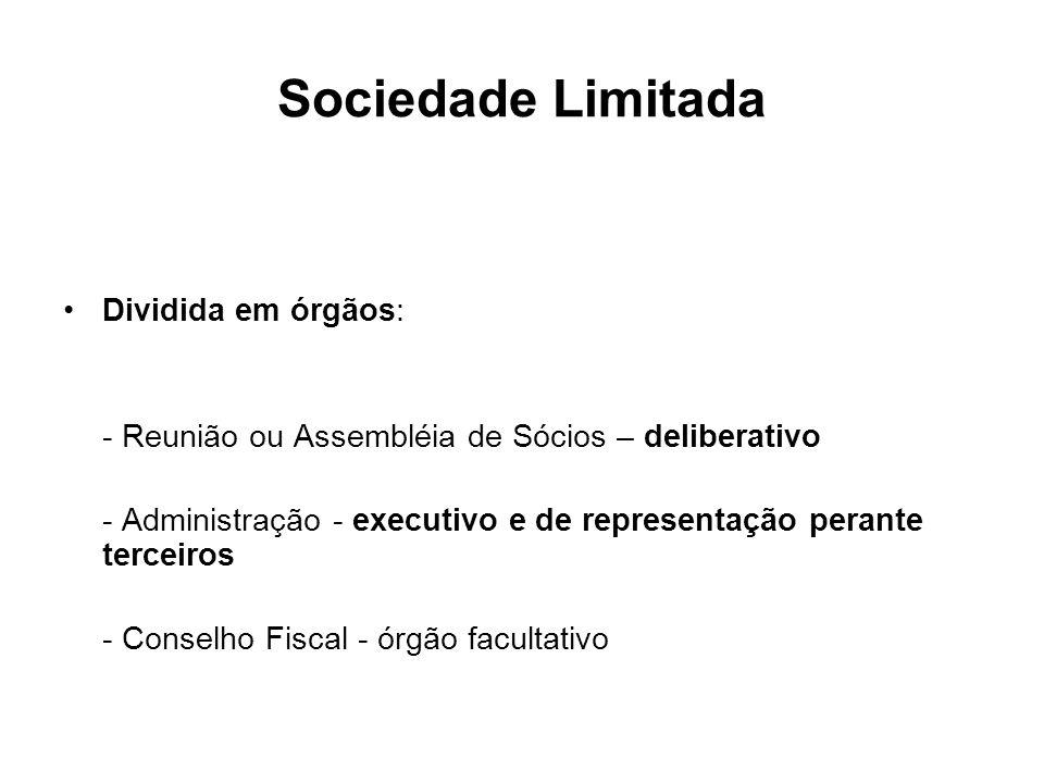Sociedade Limitada Dividida em órgãos: - Reunião ou Assembléia de Sócios – deliberativo - Administração - executivo e de representação perante terceir