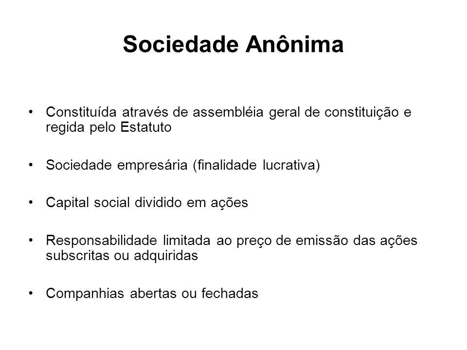 Sociedade Anônima Constituída através de assembléia geral de constituição e regida pelo Estatuto Sociedade empresária (finalidade lucrativa) Capital s
