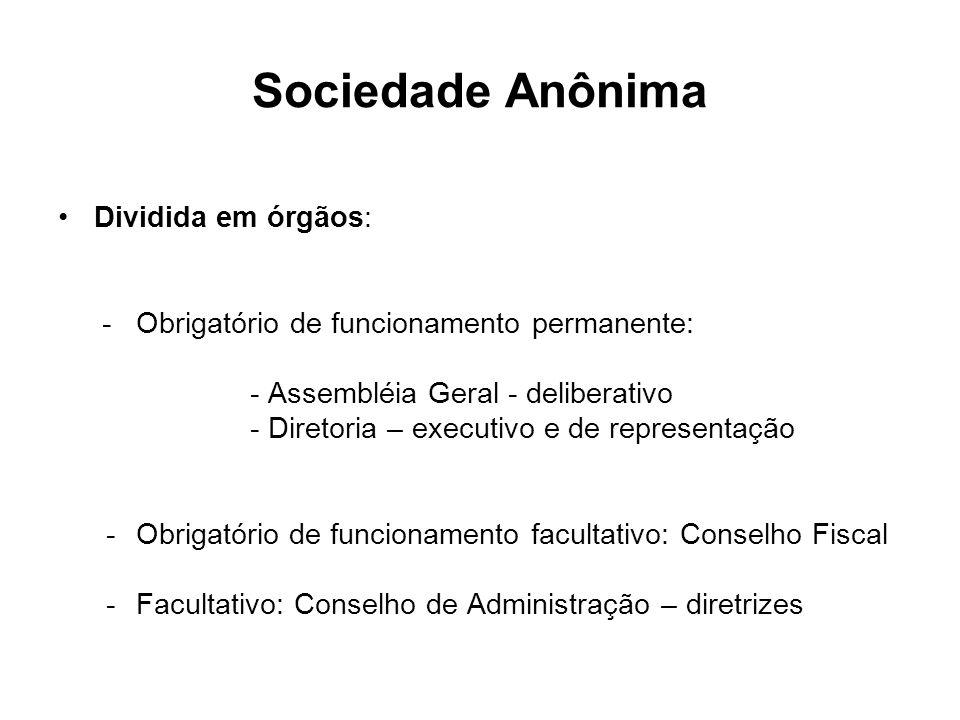 Sociedade Anônima Dividida em órgãos: - Obrigatório de funcionamento permanente: - Assembléia Geral - deliberativo - Diretoria – executivo e de repres