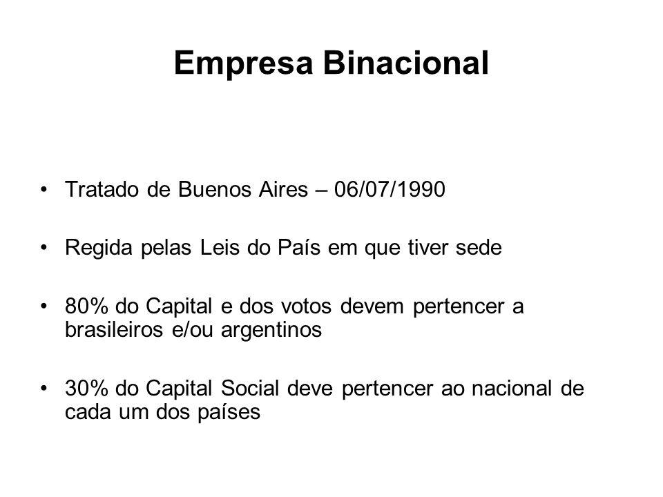 Empresa Binacional Tratado de Buenos Aires – 06/07/1990 Regida pelas Leis do País em que tiver sede 80% do Capital e dos votos devem pertencer a brasi