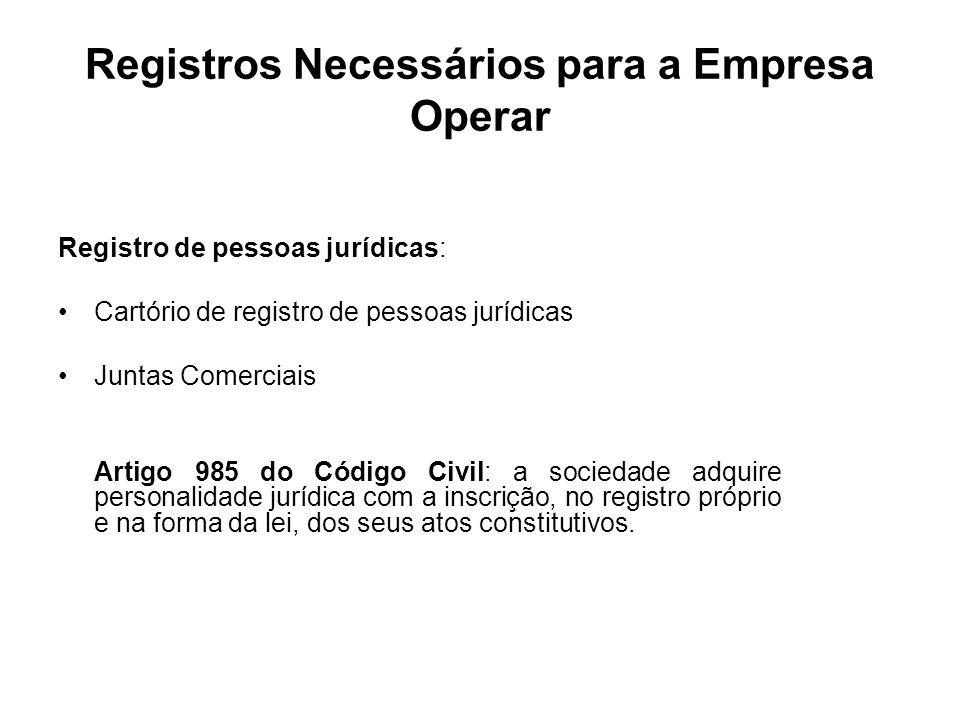 Registros Necessários para a Empresa Operar Registro de pessoas jurídicas: Cartório de registro de pessoas jurídicas Juntas Comerciais Artigo 985 do C
