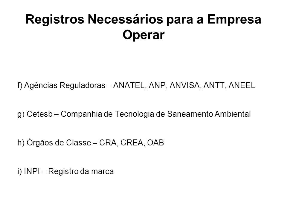 Registros Necessários para a Empresa Operar f) Agências Reguladoras – ANATEL, ANP, ANVISA, ANTT, ANEEL g) Cetesb – Companhia de Tecnologia de Saneamen