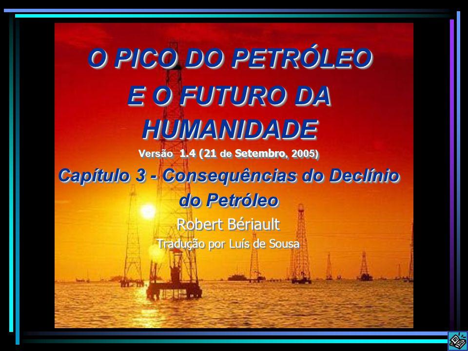 O PICO DO PETRÓLEO E O FUTURO DA HUMANIDADE Versão 1.4 (21 de Setembro, 2005) Capítulo 3 - Consequências do Declínio do Petróleo Robert Bériault Tradução por Luís de Sousa O PICO DO PETRÓLEO E O FUTURO DA HUMANIDADE Versão 1.4 (21 de Setembro, 2005) Capítulo 3 - Consequências do Declínio do Petróleo Robert Bériault Tradução por Luís de Sousa