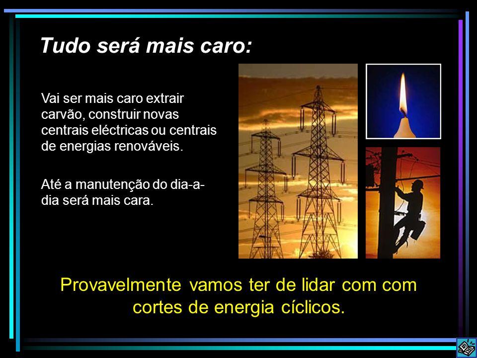 Tudo será mais caro: Provavelmente vamos ter de lidar com com cortes de energia cíclicos.