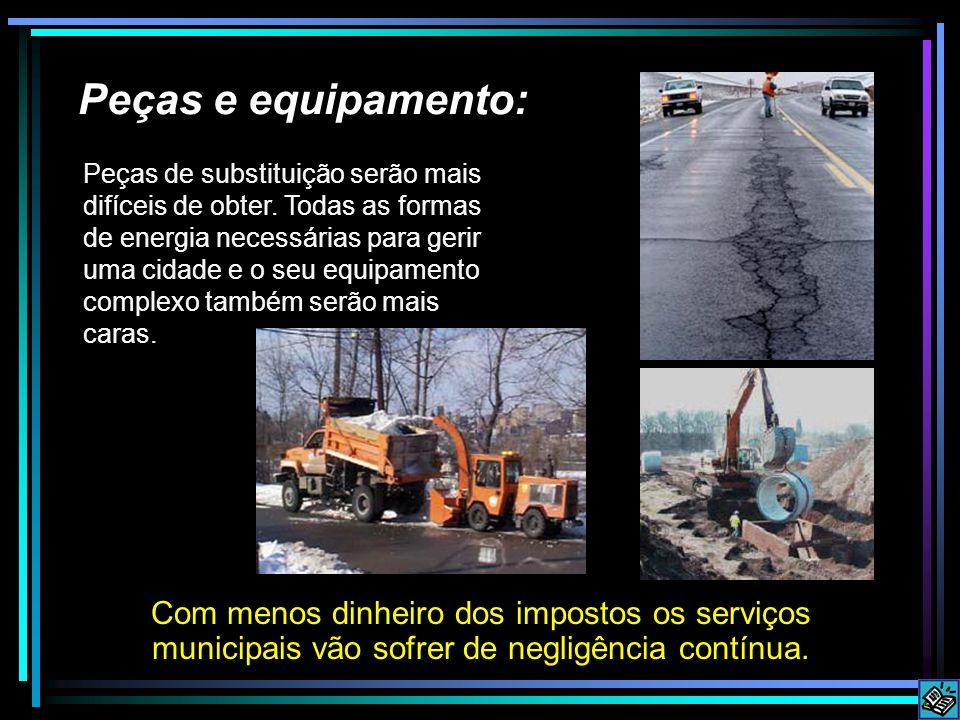 Peças e equipamento: Com menos dinheiro dos impostos os serviços municipais vão sofrer de negligência contínua.