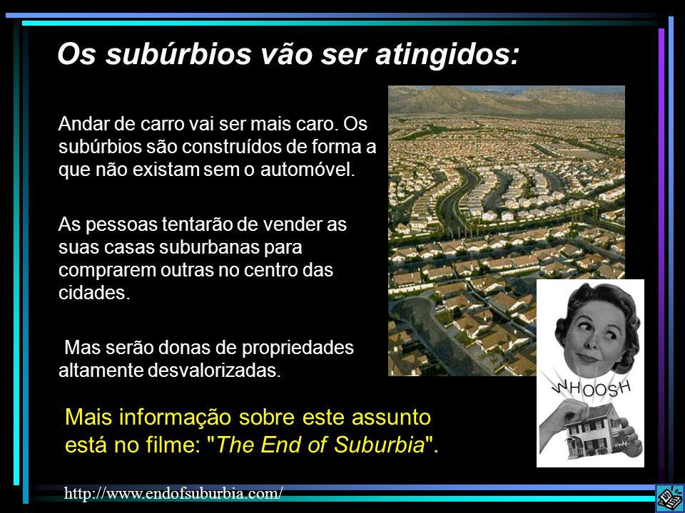 Os subúrbios vão ser atingidos: Mais informação sobre este assunto está no filme: The End of Suburbia .