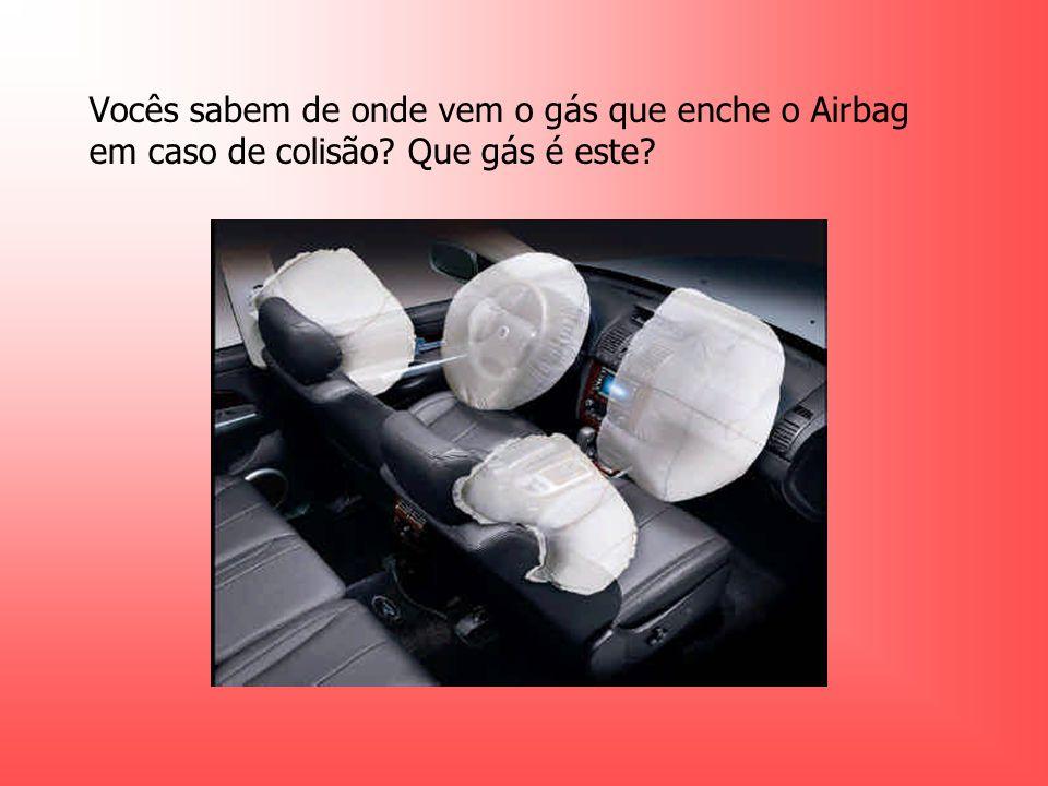 Vocês sabem de onde vem o gás que enche o Airbag em caso de colisão? Que gás é este?