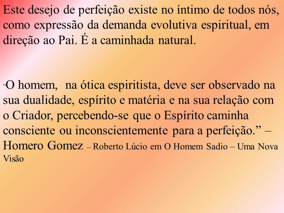 Este desejo de perfeição existe no íntimo de todos nós, como expressão da demanda evolutiva espiritual, em direção ao Pai.